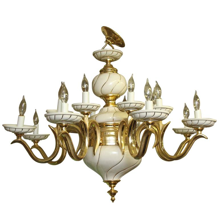 1960s italian white porcelain and brass sixteen light eight arm 1960s italian white porcelain and brass sixteen light eight arm chandelier for sale aloadofball Gallery