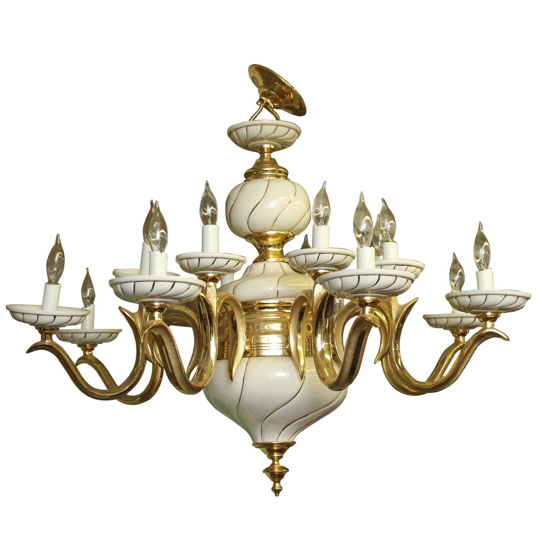 1960s Italian White Porcelain and Brass Sixteen Light