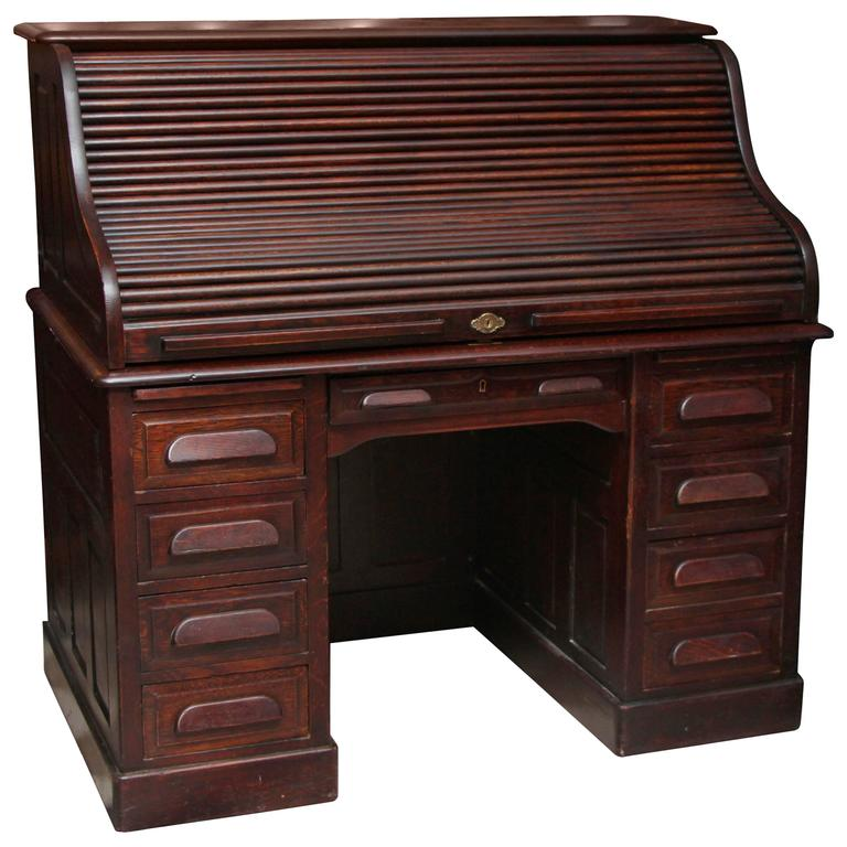 1910s Petite Antique Wooden Serpentine Roll Top Desk With Nine Drawers For
