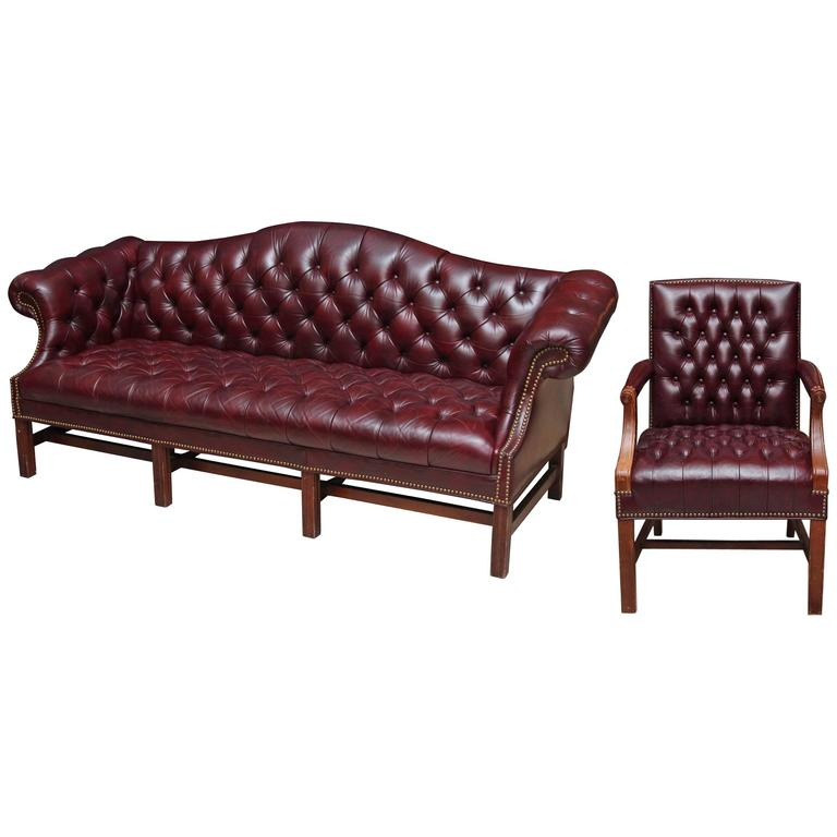 1980s Tufted Burgundy Chesterfield Leather Sofa and Chair Set with Hickory Wood