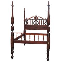 19th Century Style Croix Stylized Regency Mahogany Queen Bed