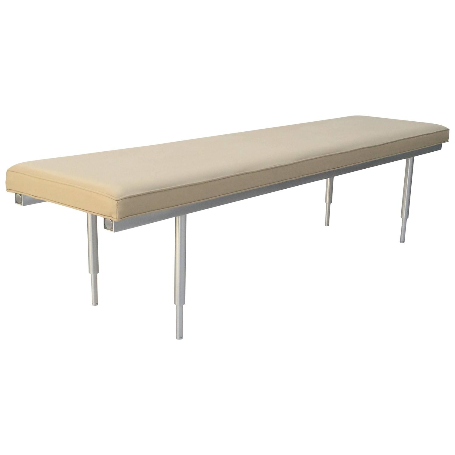 #876F44 Brushed Aluminum And Leather Bench At 1stdibs with 1500x1500 px of Highly Rated Leather Seating Bench 15001500 picture/photo @ avoidforclosure.info
