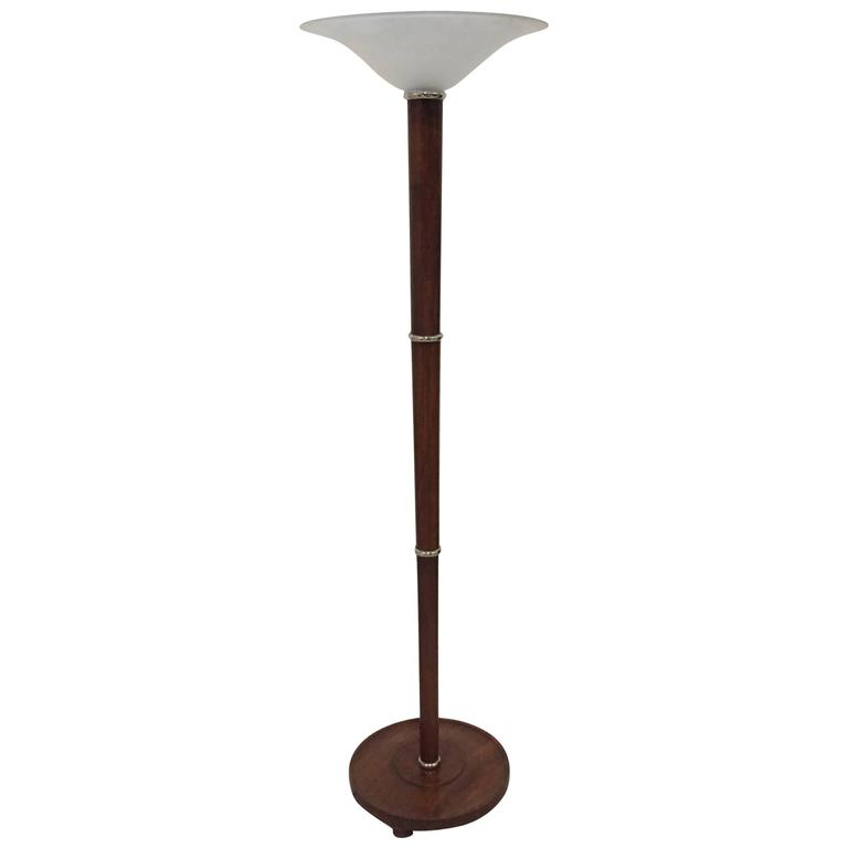 French Art Deco Wood And Metal Floor Lamp For Sale At 1stdibs