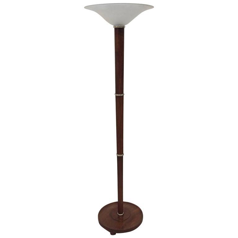 French Art Deco Figured Wood And Bronze Floor Lamp