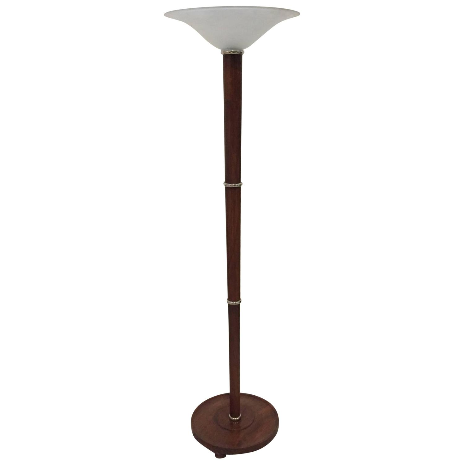 French Art Deco Figured Wood And Bronze Floor Lamp Torchiere For At 1stdibs