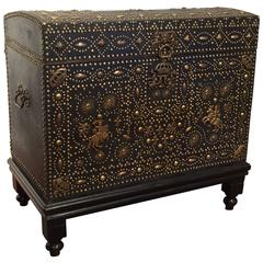 18th Century, French Gothic Leather and Nails Trunk on Carved Wood Base
