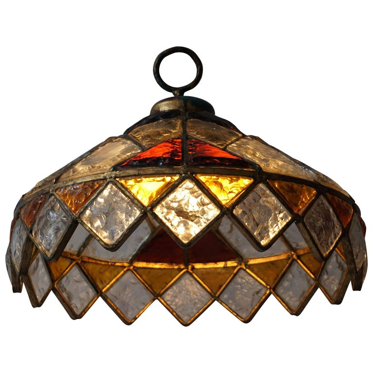 Rare Colored Stained Glass Ceiling Light For Sale