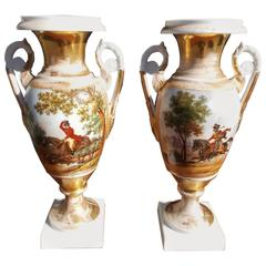 Pair of French Old Paris Painted & Gilt Porcelain Mantel Urns, Circa 1820