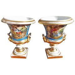 Pair of French Old Paris Gilt & Cobalt Blue Porcelain Mantel Urns, Circa 1820