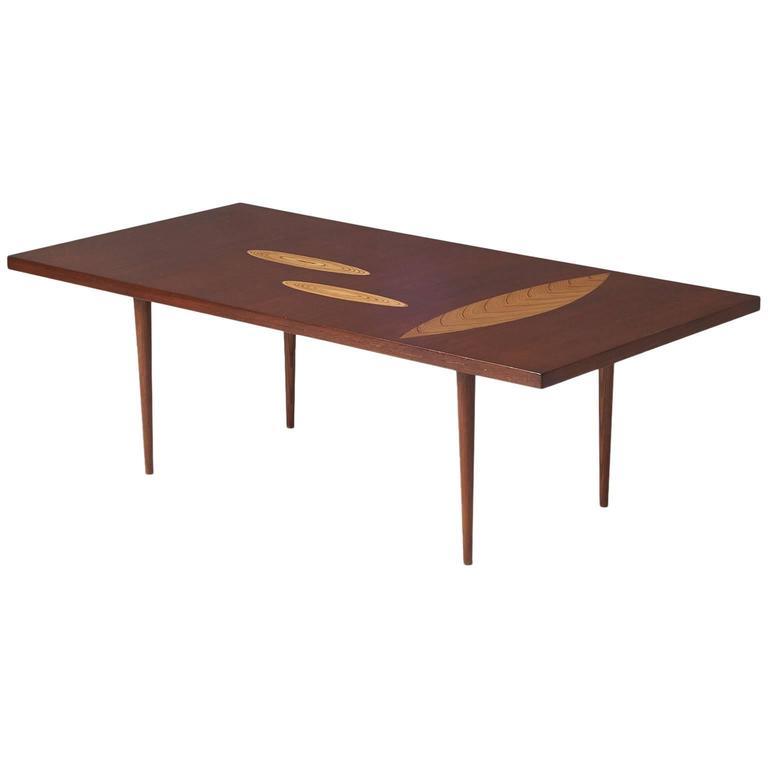Tapio Wirkkala, Rare Leaf Inlay Coffee Table