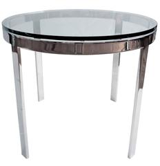 1970s Polished Solid Steel & Glass Cocktail Table by Nicos Zographos