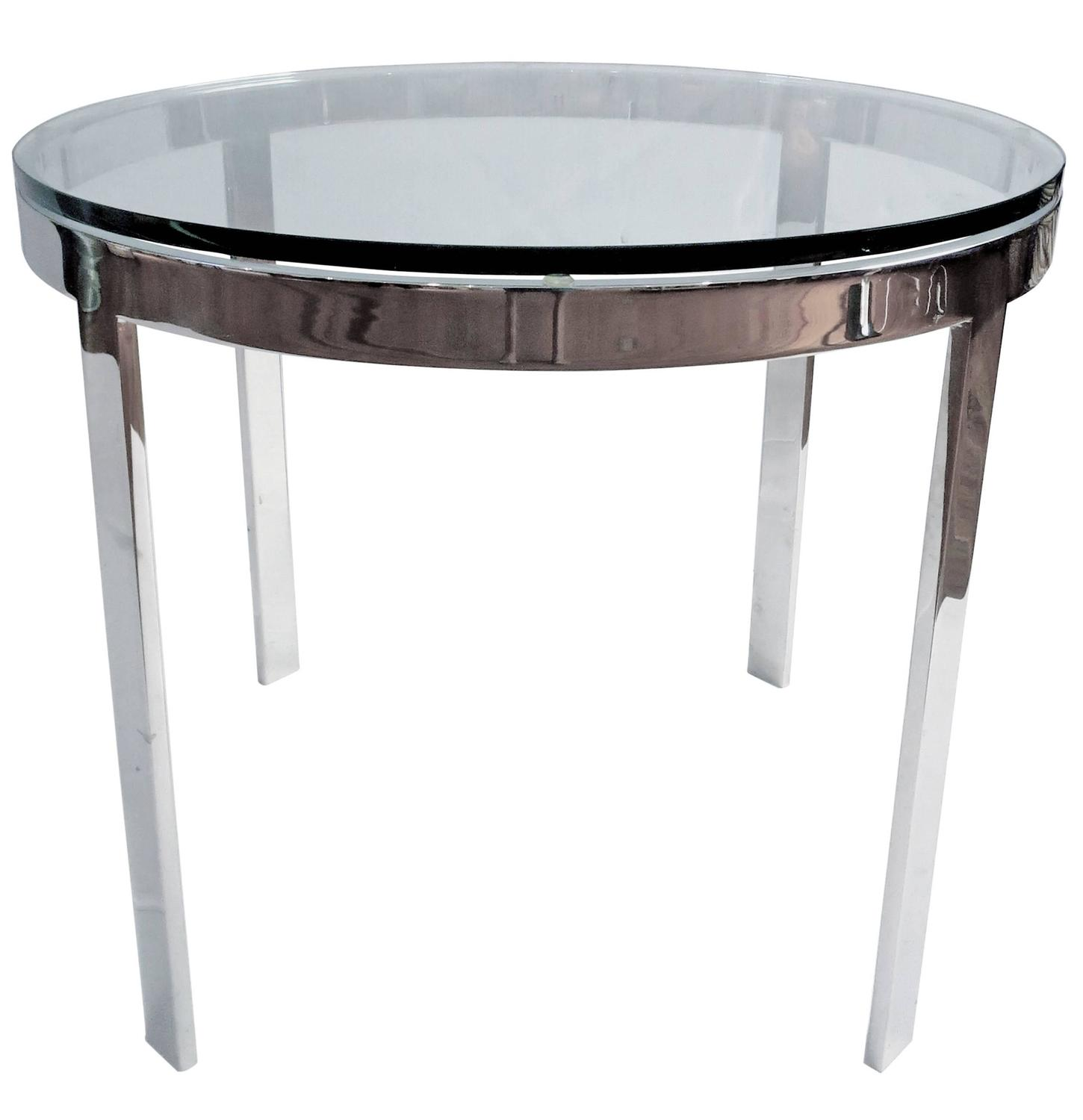 1970s Polished Solid Steel And Glass Cocktail Table By Nicos Zographos For Sale At 1stdibs