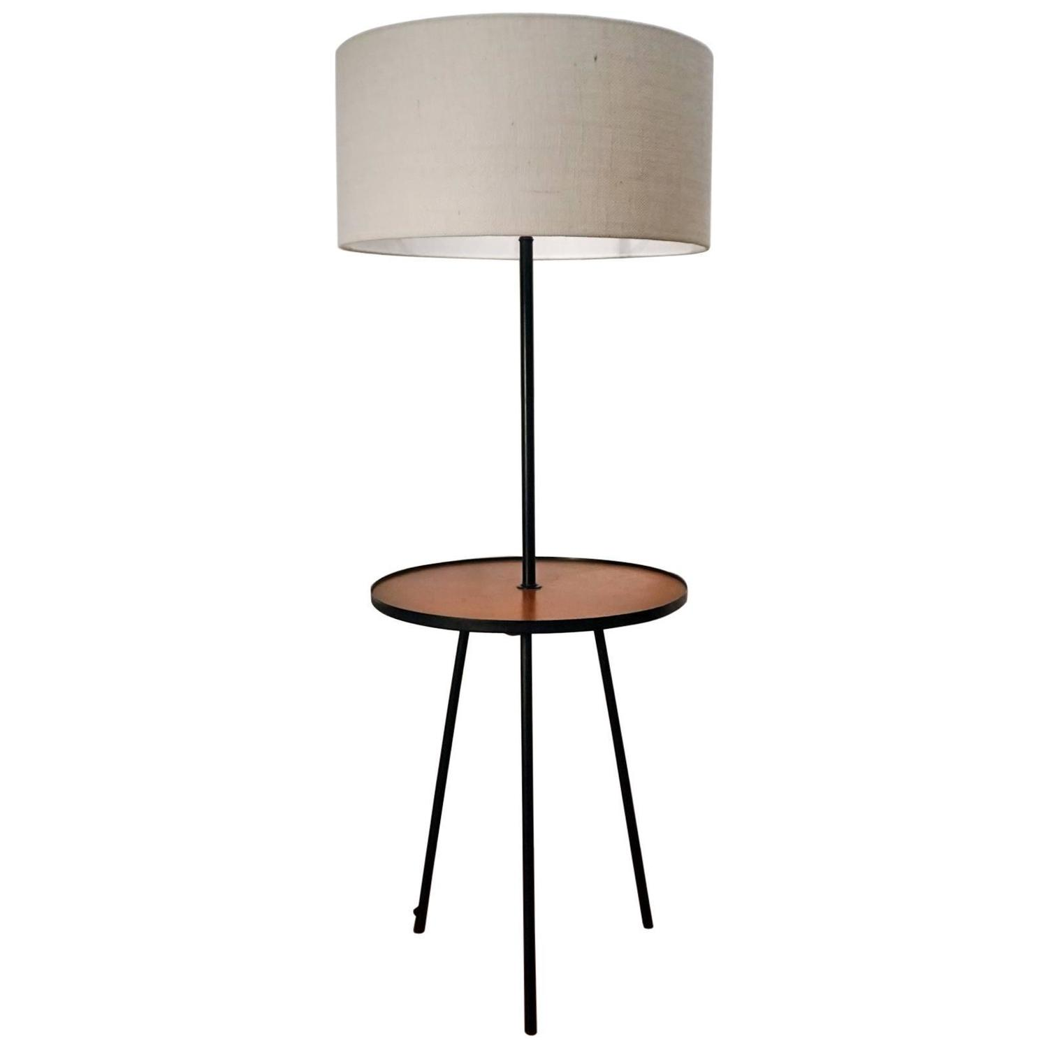 Gerald thurston tripod table and floor lamp for lightolier for Floor lamp with table