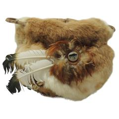 Vintage Navajo Basket with Fur and Feathers