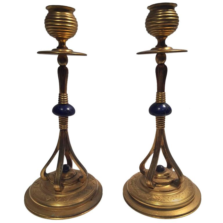 1890s Pair of Rare Art Nouveau French Bronze Gilded and Lapis Candlesticks 1