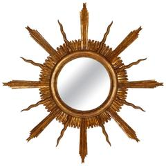 Large Spanish Early 20th Century Giltwood Sunburst Mirror in Baroque Style