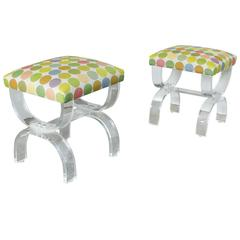 Pair of Lucite Curule Stools by Hill Manufacturing Co.