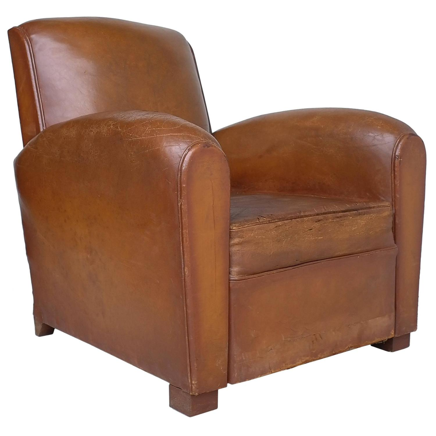 Cognac Leather Club chair France 1930s at 1stdibs