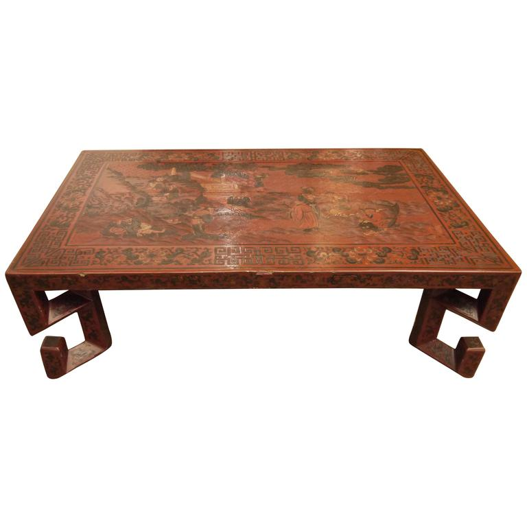 Red Chinese Lacquer Table with Geometric Legs For Sale