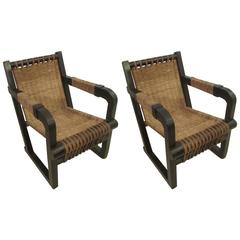 Pair of French 1920s Caned Lounge Chairs