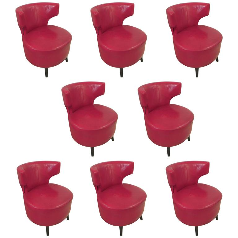 Set of Eight French Red Leather-Upholstered Chairs on Ebonized Legs For Sale