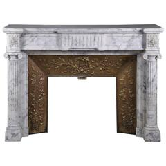 Antique Fireplace in Arabescato Marble with Detached Columns, Louis XVI Style