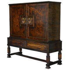 Swedish Neoclassical Flame Birch Credenza Cabinet
