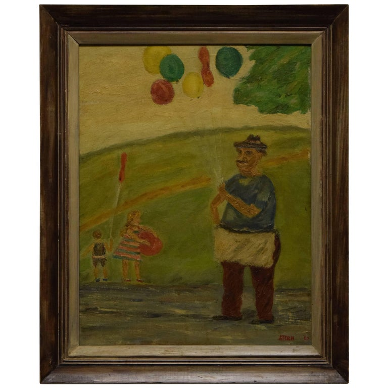 Midcentury Painting Children at the Park by Stern For Sale