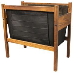 Newspaper Holder in Rosewood and Black Leather, 1960s