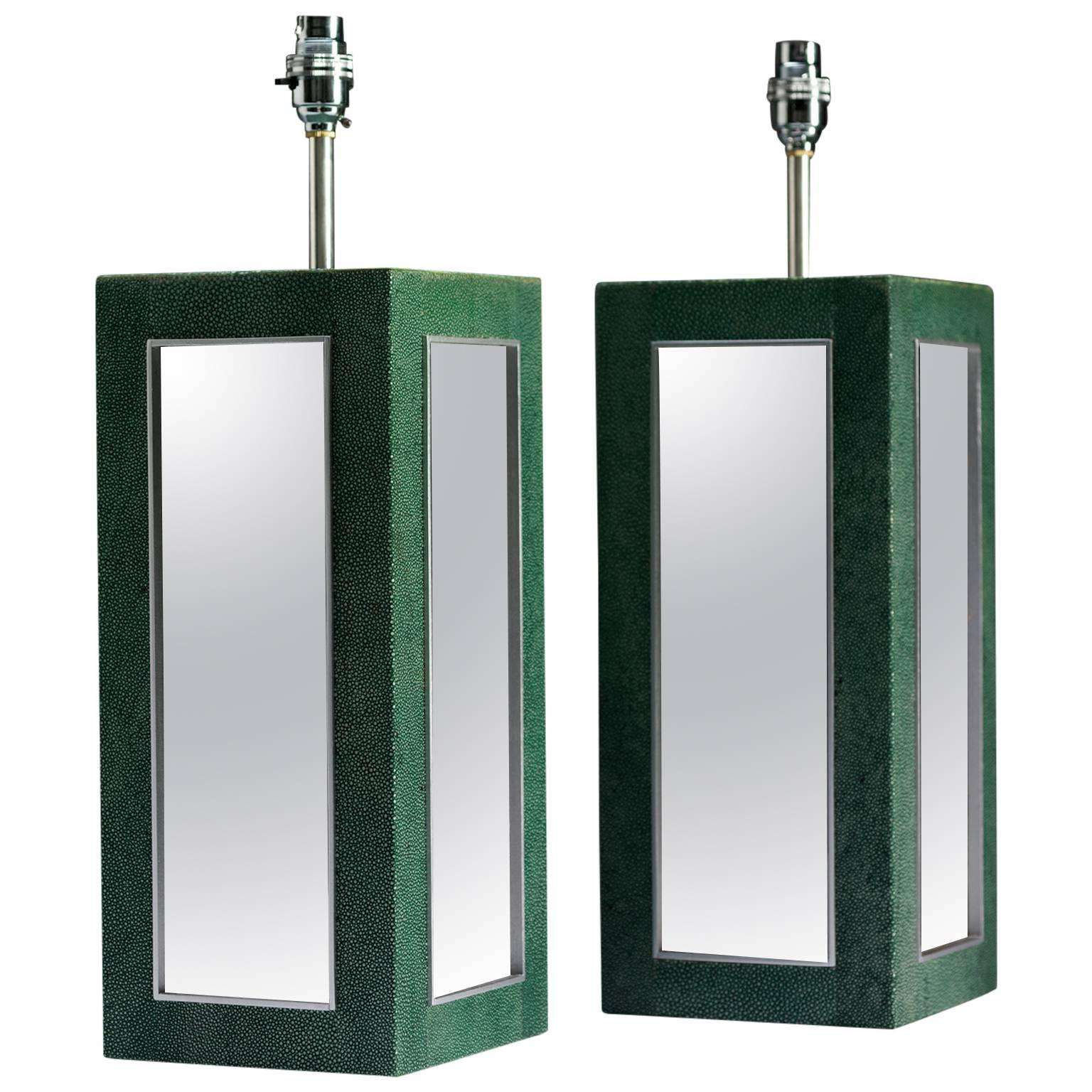 Shagreen Mirrored Lamps