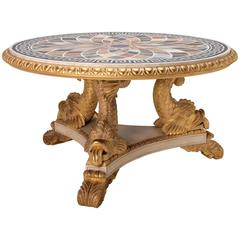 Dolphin Centre Table with Specimen Marble Top in the Regency manner