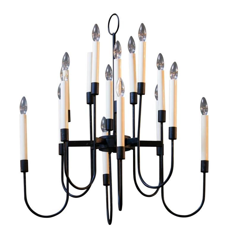 "Mid-Century Modern 16-Arm ""Lightolier"" Chandelier by Tommi Parzinger 1"