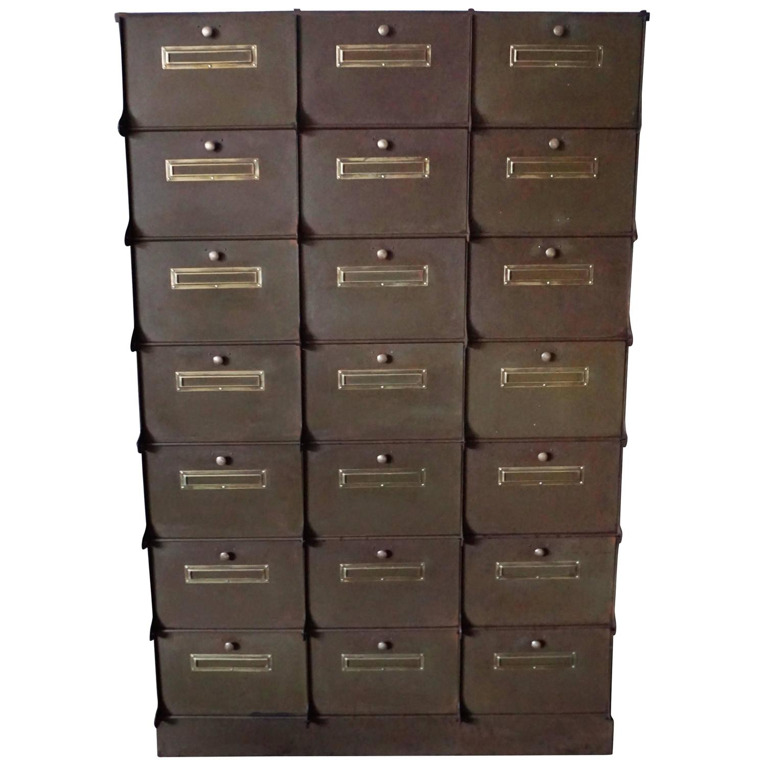 Delicieux 1920s 1930s Industrial Filing Cabinet, Ribeauville, Belgium At 1stdibs