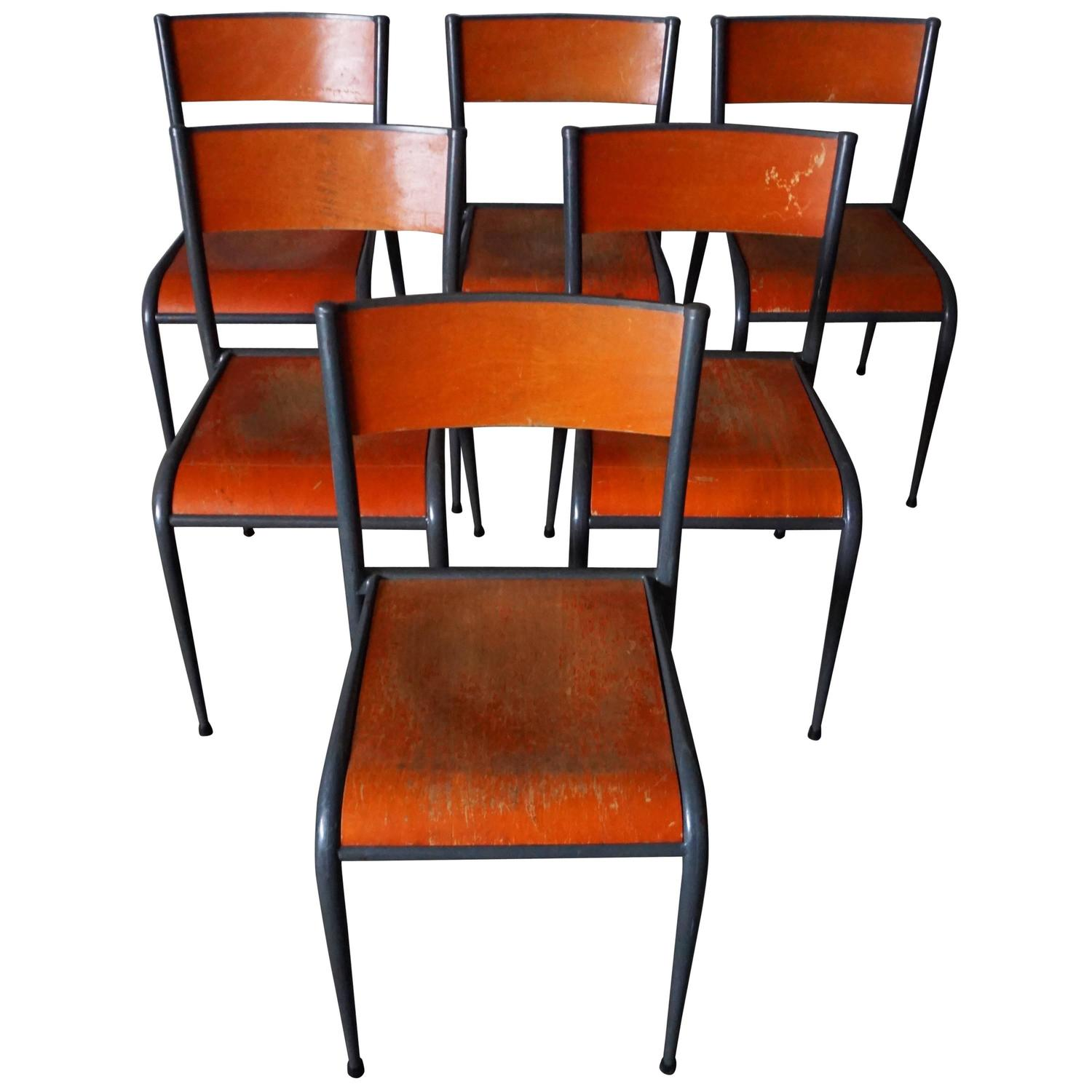 Set of Six Vintage French School Chairs at 1stdibs
