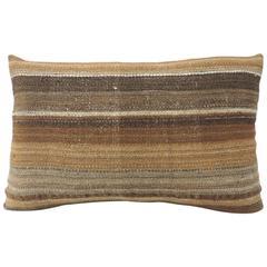 19th Century Saddle Woven Brown Stripe Bolster Pillow