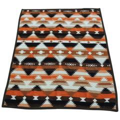 Vintage Orange and Brown American Indian Design Camp Blanket