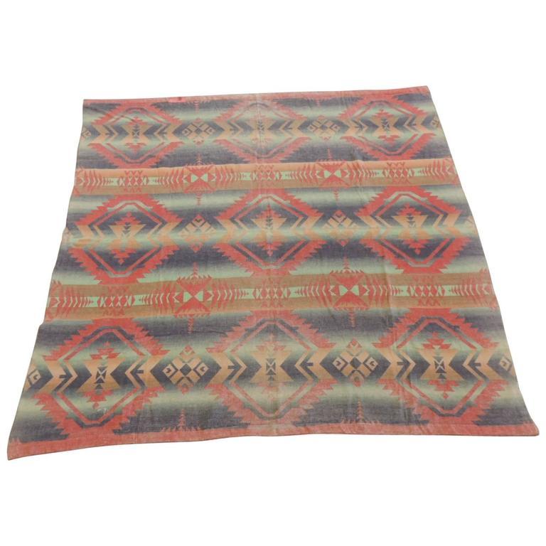 Vintage Orange American Indian Design Camp Blanket at 1stdibs