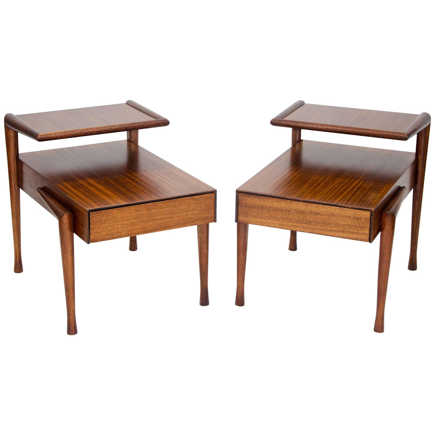Pair of Step End Tables by John Keal for Brown Saltman at 1stdibs
