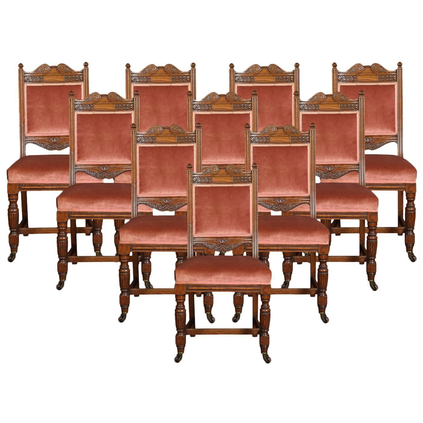 Set Of Ten Oak Dining Chairs At 1stdibs. Full resolution  image, nominally Width 1400 Height 1400 pixels, image with #3C2013.
