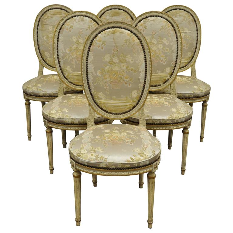 Set Of 6 French Louis XVI Style Medallion Back Dining Room Side Chairs For Sale