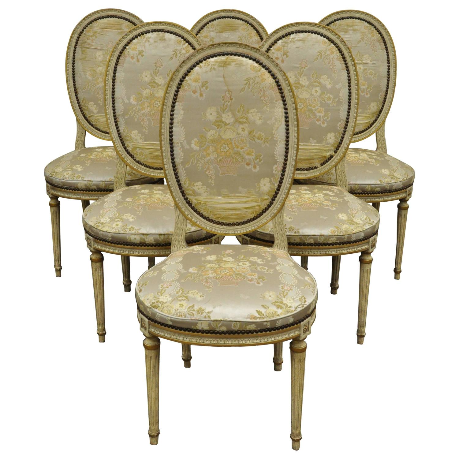Set Of 6 French Louis XVI Style Medallion Back Dining Room