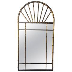 Gilt Metal Faux Bamboo La Barge Mirror