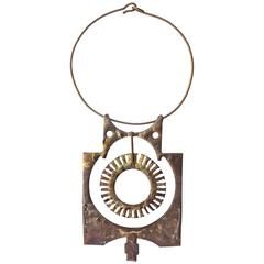 Large Brutalist Hand-Wrought Studio Brass Pendant, 1970s