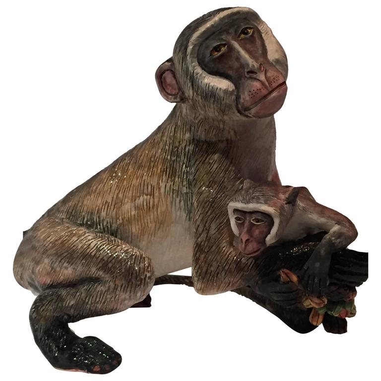Monkey Mother and Baby Ceramic Sculpture by Ardmore from South Africa For Sale