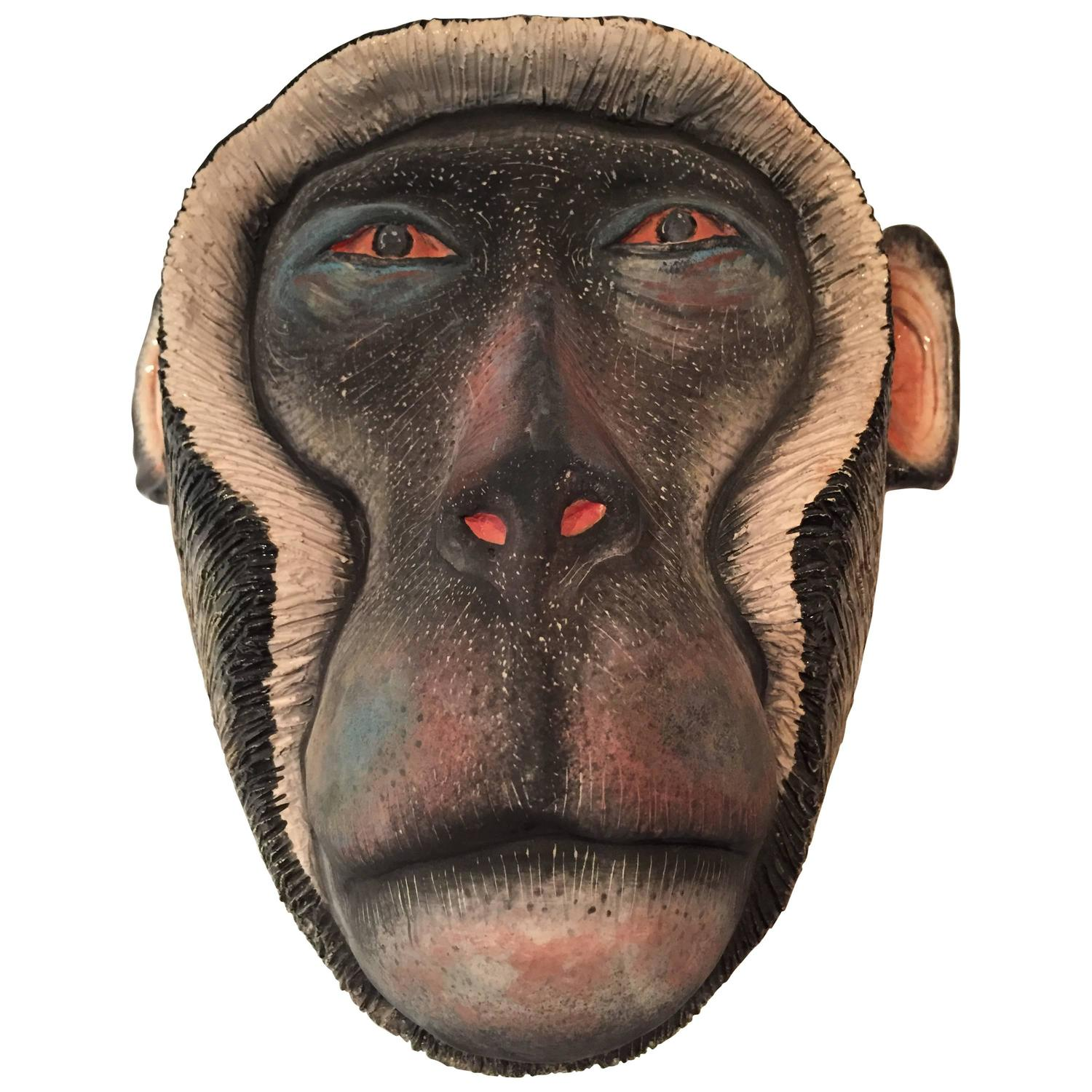 Monkey Mask Ceramic Sculpture By Ardmore From South Africa