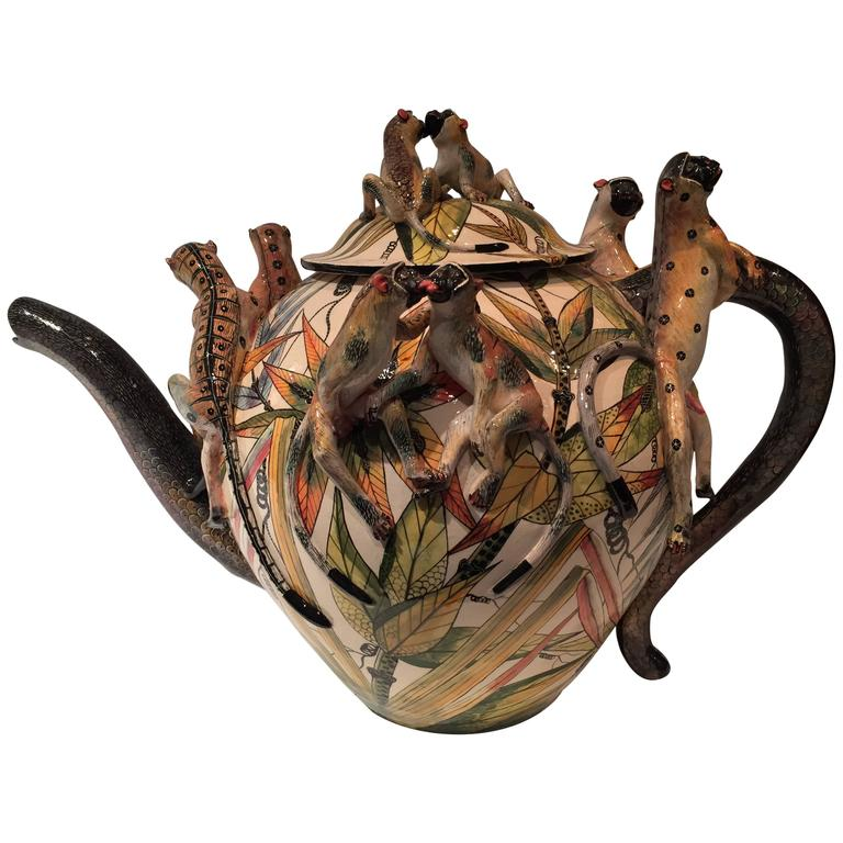 Monkey Teapot Ceramic Sculpture by Ardmore from South Africa