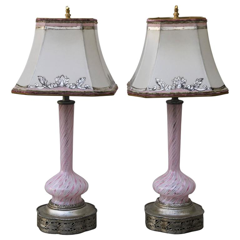Murano Glass Lamps w/ Parchment Shades