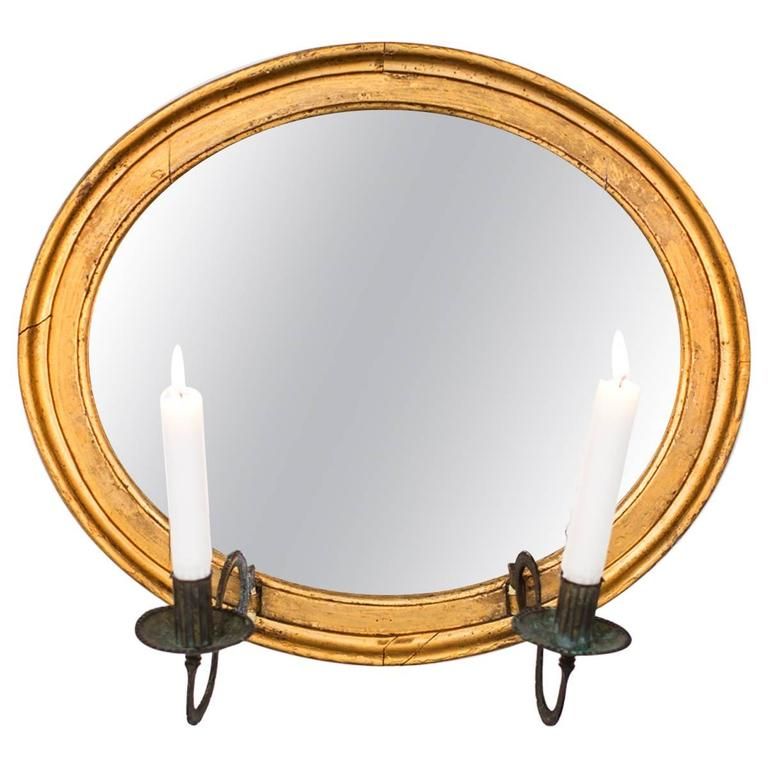 Wall Sconce Mirror Oval Giltwood French, 19th Century, France