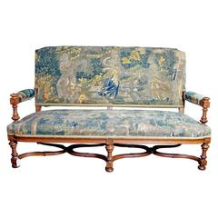 19th Century Louis XIII Style Settee Upholstered in Antique Verdure Tapestry