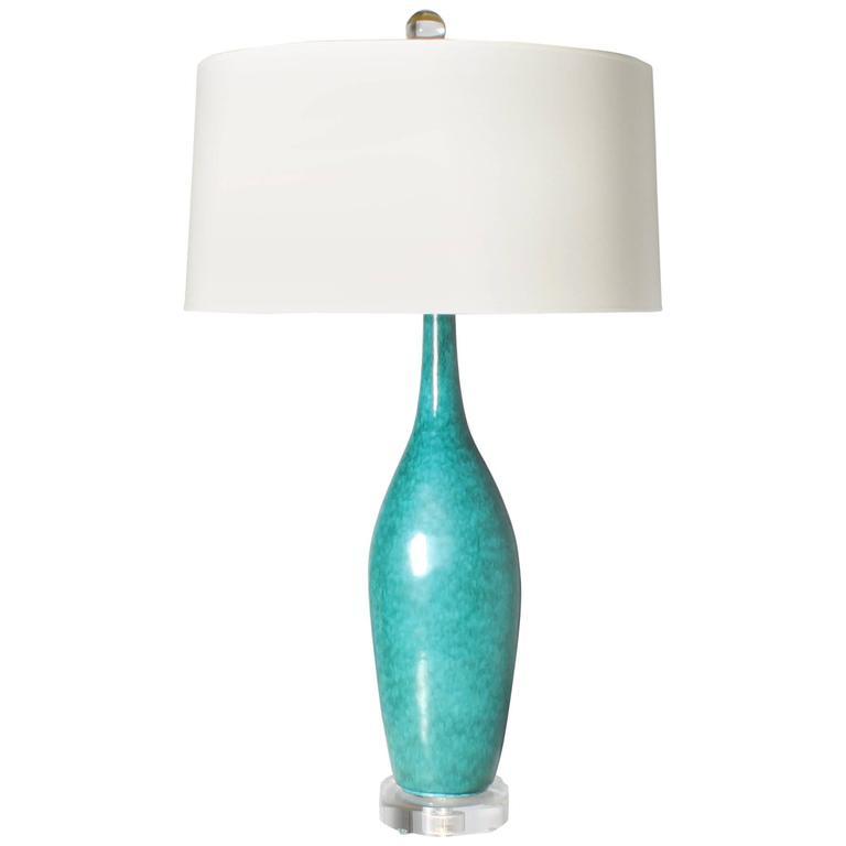 Italian Turquoise Marcello Fantoni Lamp, 1970